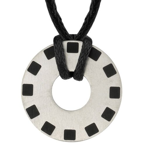 Renewed Passion Designer Inspired Titanium Brushed Finish Rubber-inlay Disc Pendant for Men on ...