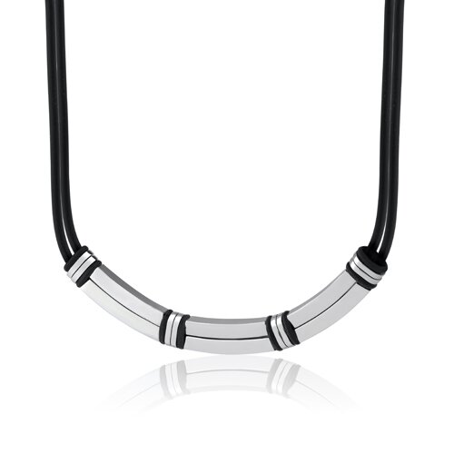 Contemporary Statement Stainless Steel Bar-link and Rubber Cord Necklace for Men