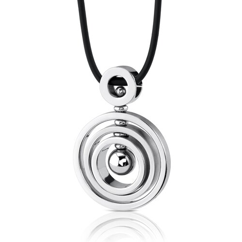 Circle of Style Stainless Steel Concentric Circle Pendant with Bead-inlay worn on a Rubber Cord ...