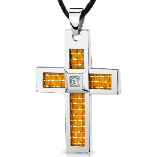 Stainless Steel Large Cross Pendant with Yellow-White Carbon Fiber Inlay on Adjustable Black Cord
