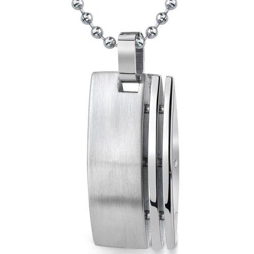 Stainless Steel Celebrity Style Striped Bullion Pendant for Men