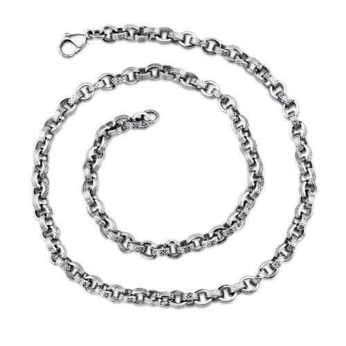 Oravo Unique Open Oval Links Mens Stainless Steel Necklace