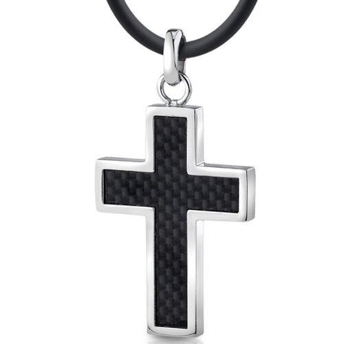 Stainless Steel Mens Cross Pendant Necklace with Carbon Fiber