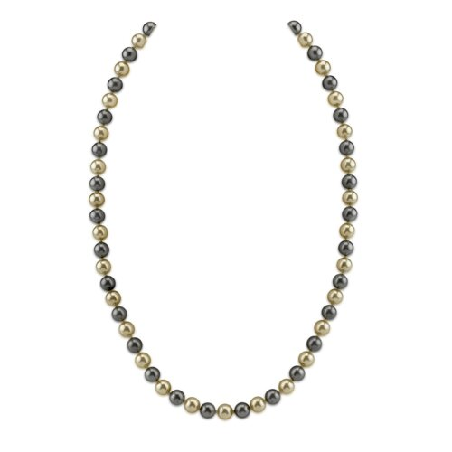 Oravo Single Strand 8 mm Off White and Grey Color Round Majorca Cultured Pearl 30 inch Necklace