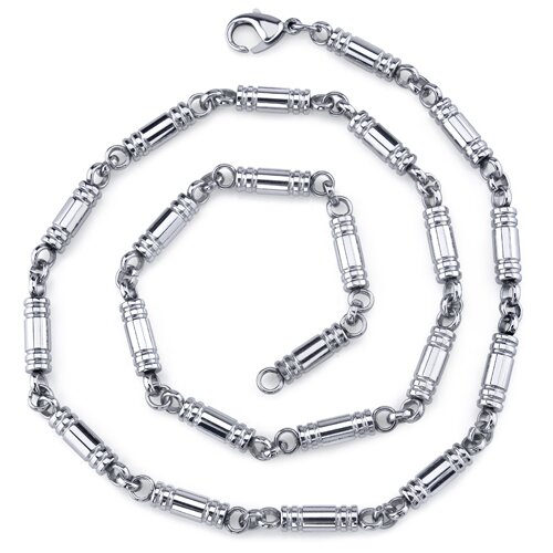 Impressive and Elegant Mens Stainless Steel Barrel Link 20 Inch Chain Necklace