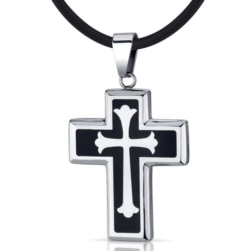 Medieval Faith Stainless Steel Fleur-de-lis Medieval Cross Unisex Pendant Necklace
