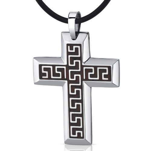 Eternal Grandeur Large Greek Key Stainless Steel Large Cross Pendant Necklace for Men