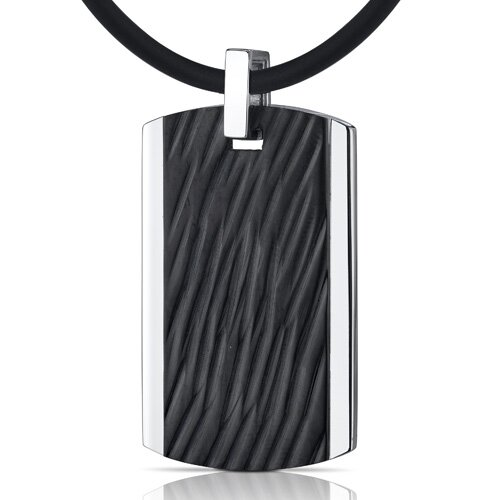Oravo Rugged Impression Stainless Steel with Black Carving Dog Tag Pendant Necklace for Men
