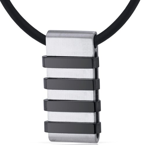 Mens Stainless Steel Pendant with Raised Black Stripe Accents on Black Cord Necklace