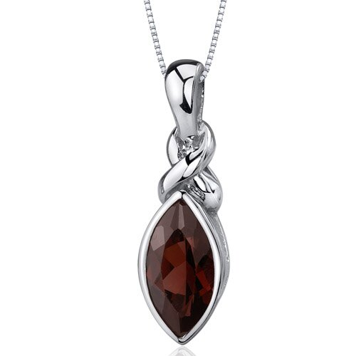 Oravo Graceful Allure 2.00 Carats Marquise Cut Garnet Pendant in Sterling Silver