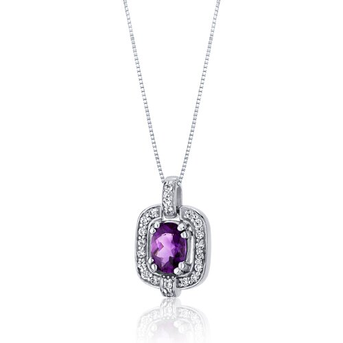 Oravo Dazzling Opulence 0.75 Carats Oval Cut Amethyst Pendant in Sterling Silver