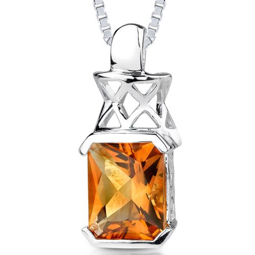 3.75 cts Radiant Cut Citrine Pendant in Sterling Silver