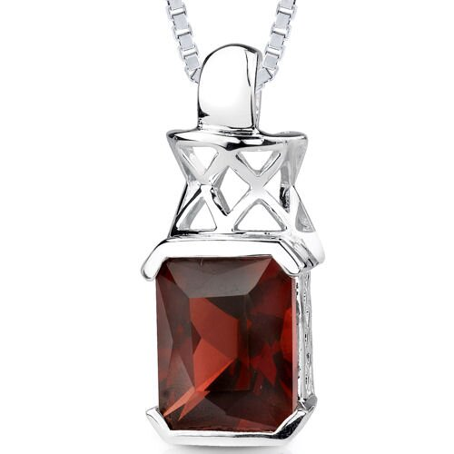 5.25Ct Radiant Cut Garnet Pendant in Sterling Silver
