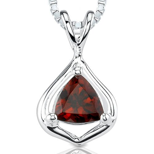 1.00Ct Trillion Cut Garnet Pendant in Sterling Silver