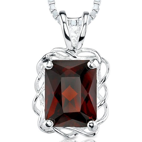 2.75Ct Radiant Cut Garnet Pendant in Sterling Silver