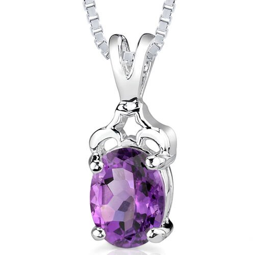 1.50 cts Oval Cut Amethyst Pendant in Sterling Silver