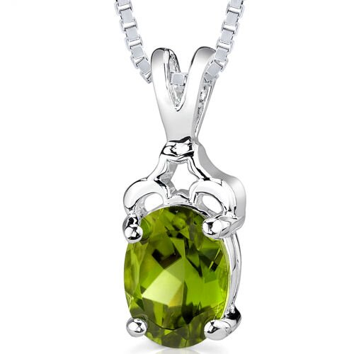 2.00 cts Oval Shape Peridot Pendant in Sterling Silver