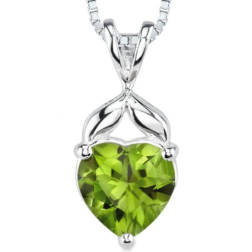 2.50 cts Heart Shape Peridot Pendant in Sterling Silver