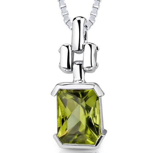 2.25 cts Radiant Cut Peridot Pendant in Sterling Silver