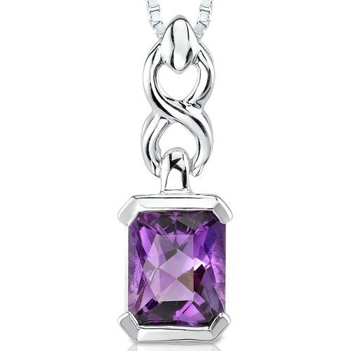2.00 cts Radiant Cut Amethyst Pendant in Sterling Silver