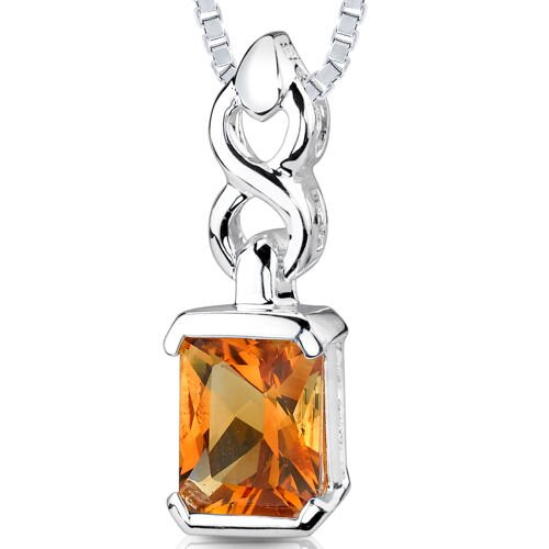 2.00 cts Radiant Cut Citrine Pendant in Sterling Silver