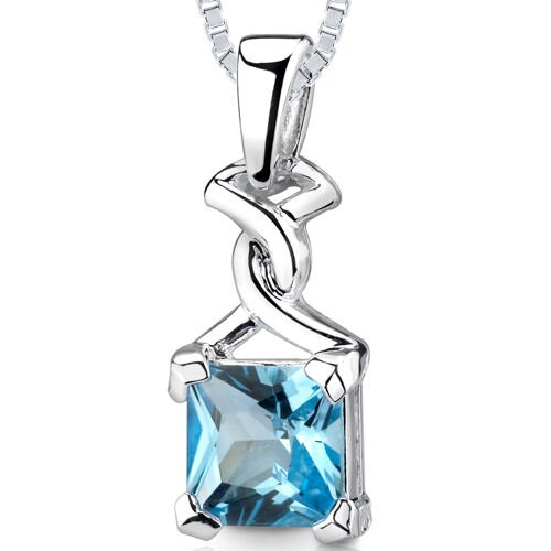 Oravo 2.75 Princess Cut 2.50 Swiss Blue Topaz Pendant in Sterling Silver