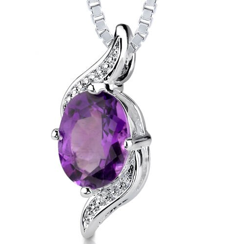 1.00 cts Oval Shape Amethyst Pendant in Sterling Silver