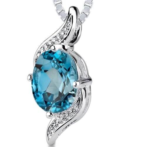 Oravo 1.50 cts Oval Cut London Blue Topaz Pendant in Sterling Silver