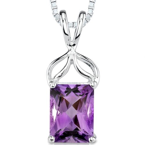 1.25 cts Radiant Cut Amethyst Pendant in Sterling Silver