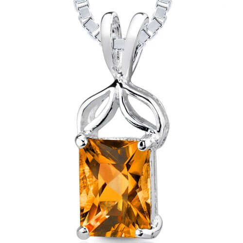 1.25 cts Radiant Cut Citrine Pendant in Sterling Silver