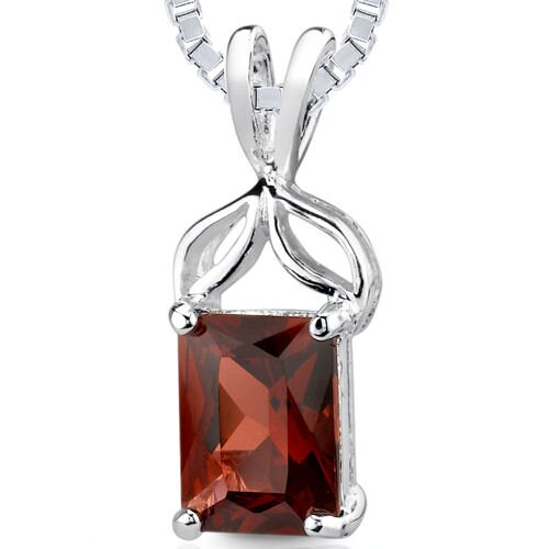 1.75Ct Radiant Cut Garnet Pendant in Sterling Silver