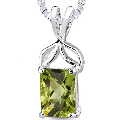 1.50 cts Radiant Cut Peridot Pendant in Sterling Silver