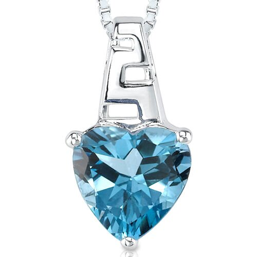 3.00 cts Heart Shape London Blue Topaz Pendant in Sterling Silver