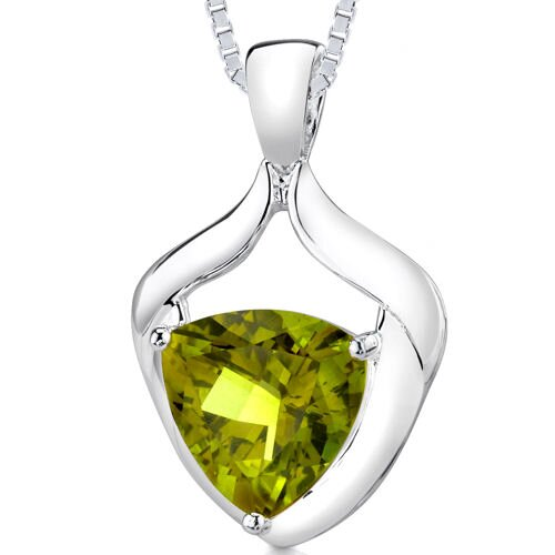 7.00 cts Trillion Cut Lemon Quartz Pendant in Sterling Silver