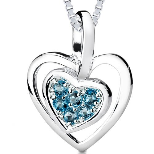 0.50ct Round Cut London Blue Topaz Heart Pendant in Sterling Silver