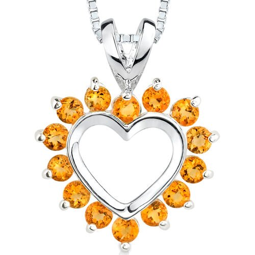 0.75ct Round Cut Citrine Heart Pendant in Sterling Silver