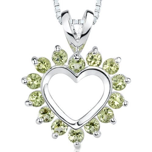 Oravo 1.00ct Round Cut Peridot Heart Pendant in Sterling Silver