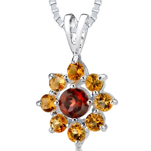 1.50cts Round Cut Garnet Citrine Silver Pendant in Sterling Silver