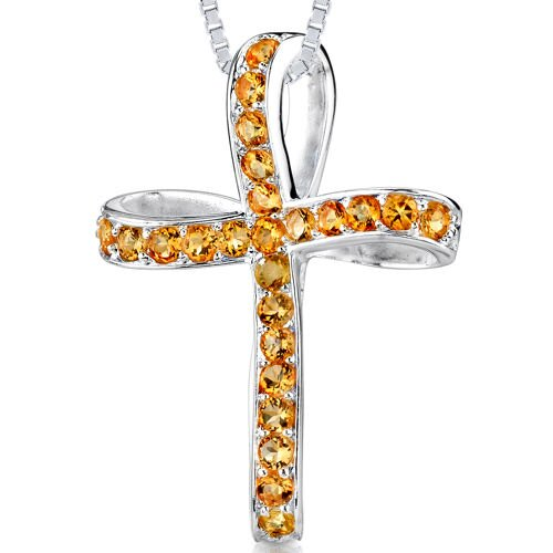 1.25ct Round Cut Citrine Cross Pendant in Sterling Silver