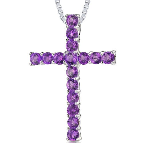 Oravo 1.50ct Round Cut Amethyst Pendant in Sterling Silver
