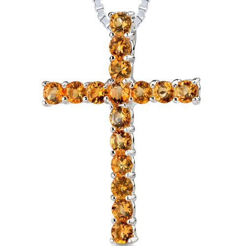 1.50cts Round Shape Citrine Cross Pendant in Sterling Silver
