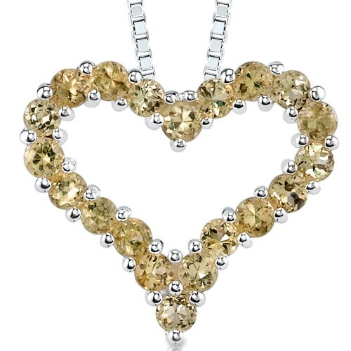 0.50ct Round Shape Citrine Heart Pendant in Sterling Silver