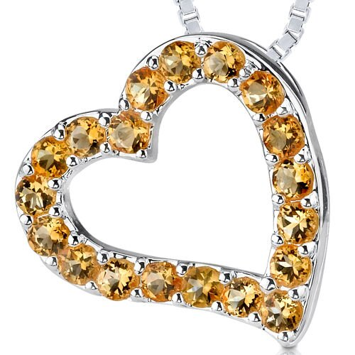 1.00ct Round Cut Citrine Heart Pendant in Sterling Silver
