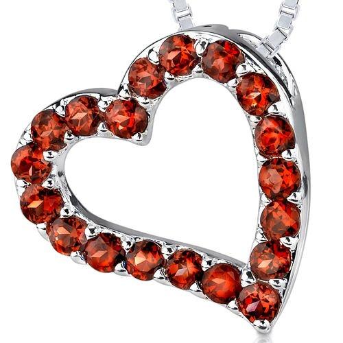 1.75ct Round Cut Garnet Heart Pendant in Sterling Silver