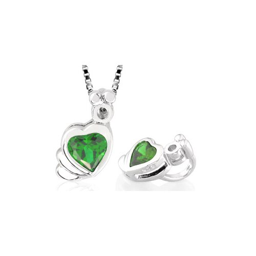 Oravo Heart Shaped Peridot Pendant in Sterling Silver