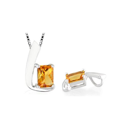 Radiant Cut Citrine Pendant in Sterling Silver
