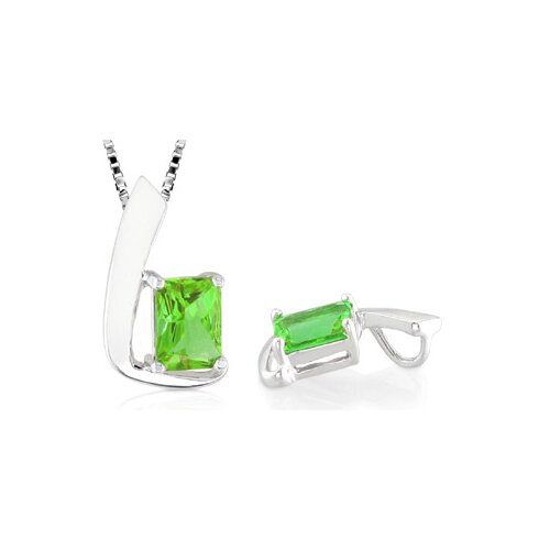 Radiant Cut Peridot Pendant in Sterling Silver