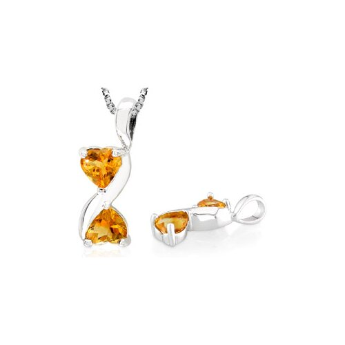 Heart Shaped Citrine Pendant in Sterling Silver