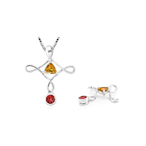 Multicut Citrine Garnet Pendant in Sterling Silver
