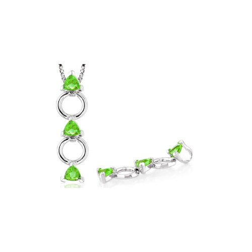 Trillion Cut Peridot Three Stone Pendant in Sterling Silver